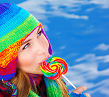 Woman with sugar candy