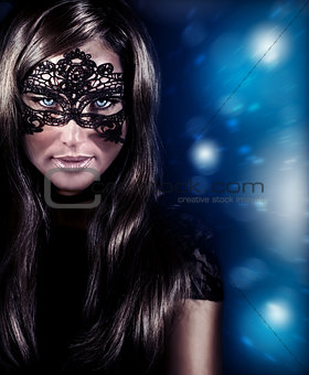 Beautiful woman wearing mask