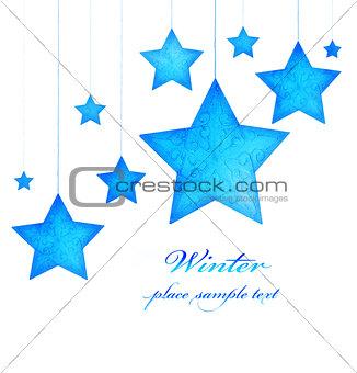 Blue stars Christmas tree ornaments