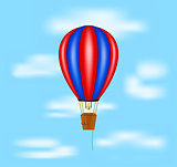 Hot air balloon flying on blue sky