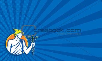 Mercury Holding Caduceus Staff