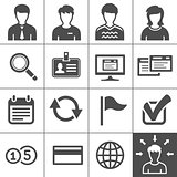 Telecommuting icons set - Simplus series
