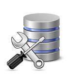 Screwdriver, spanner and database icon