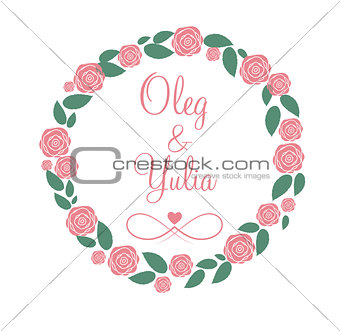Floral Frame for Wedding and Birthday Card. Vector Illustration