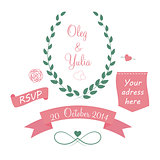 Set of Wedding Graphic Elements with Arrows, Hearts, Laurel,  Ri