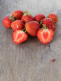 fresh organic strawberries from garden