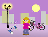 Little Girl with Bikes