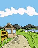 Camp ground cartoon illustration