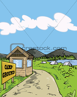 Camp ground cartoon illustration