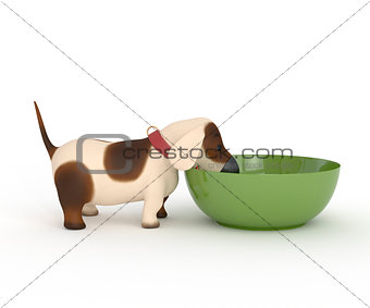 3d dog with a bowl.