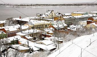 Oldest street and embankment in winter Nizhny Novgorod