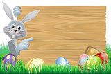 Easter bunny and eggs basket sign