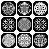 Patterns in circle shape. Design elements set.