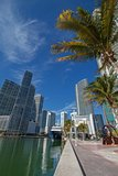 Miami downtown river cityscape along the Brickell area