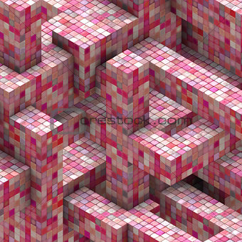 abstract mosaic cube pink red backdrop