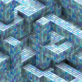 abstract mosaic tile cube  blue purple backdrop