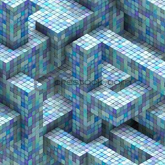 abstract mosaic tile cube  blue purple backdrop