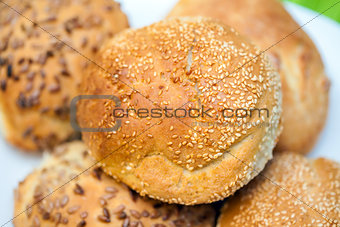 Fresh bread rolls with sunflower and sesame seeds