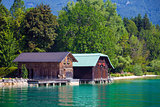 Wolfgang See lake traditional boathouses