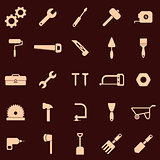Tool icons on red background
