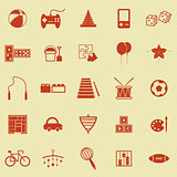 Toy color icons on yellow background