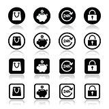 Shopping icons set - account, save, 24h, shopping bag