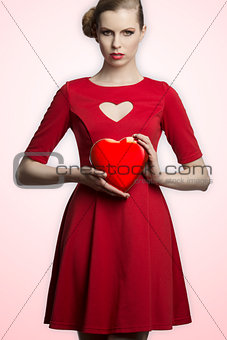 lovely girl with heart shaped box
