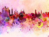 Moscow skyline in watercolor background