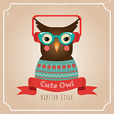 Vector Illustration of Hipster Owl, Greeting Card Design, Owl with Earphones, Card Background Template
