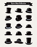 Hipster Retro Hats Vintage Icon Set, Illustartion, Black