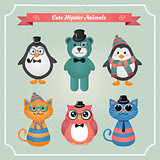 Cute fashion Hipster Animals & pets, set of vector icons, illustration
