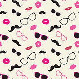 Moustaches, Lips, Glasses Vector Seamless Pattern