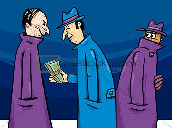 crime or corruption cartoon illustration