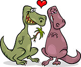 dinos in love cartoon illustration