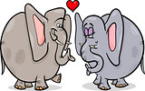 elephants in love cartoon illustration