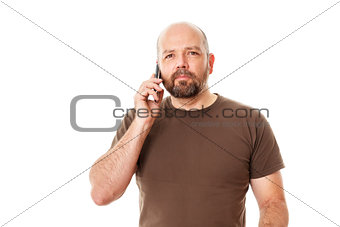 bearded man at the phone