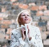elegant woman under rain