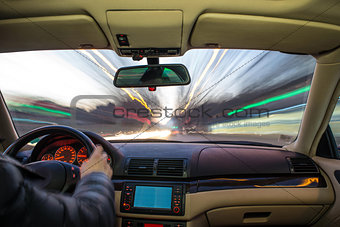 Car interior on driving.