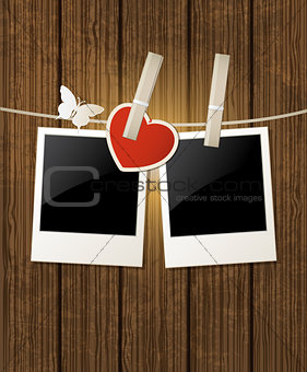 Background with photo and red heart