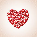 Red heart of bead
