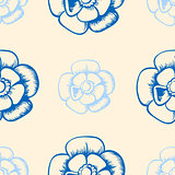 Vintage seamless pattern with blue flowers