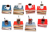set from stacks of books with coffee or tea on top