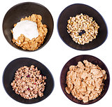 set of top view cereal in dark bowl