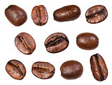 set of roasted coffee beans