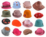 set of felt ladies hats