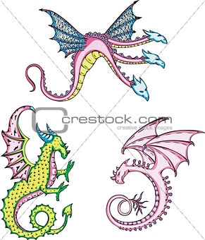 three mythic dragons