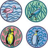round designs with birds