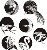 round designs with birds