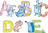 Funny childish letters ABCDE
