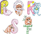 Funny childish letters PQRST